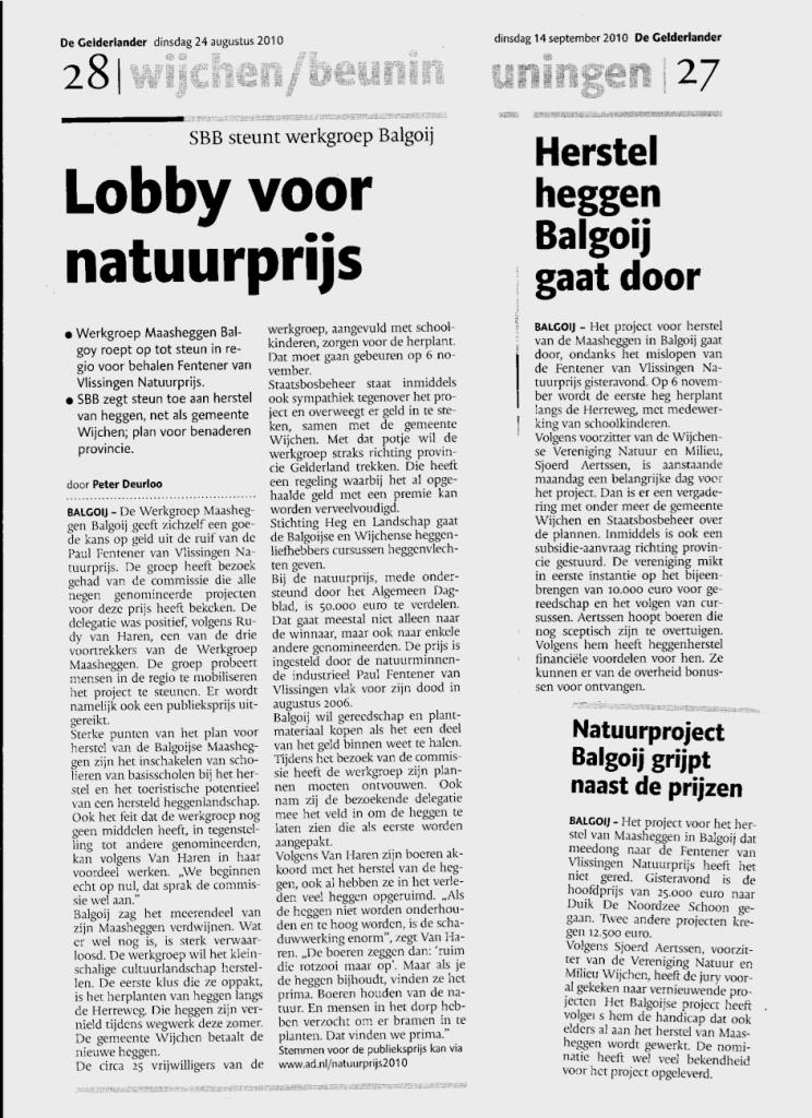 artikelen in de gelderlander over maasheggen balgoy, aug-sept 2010