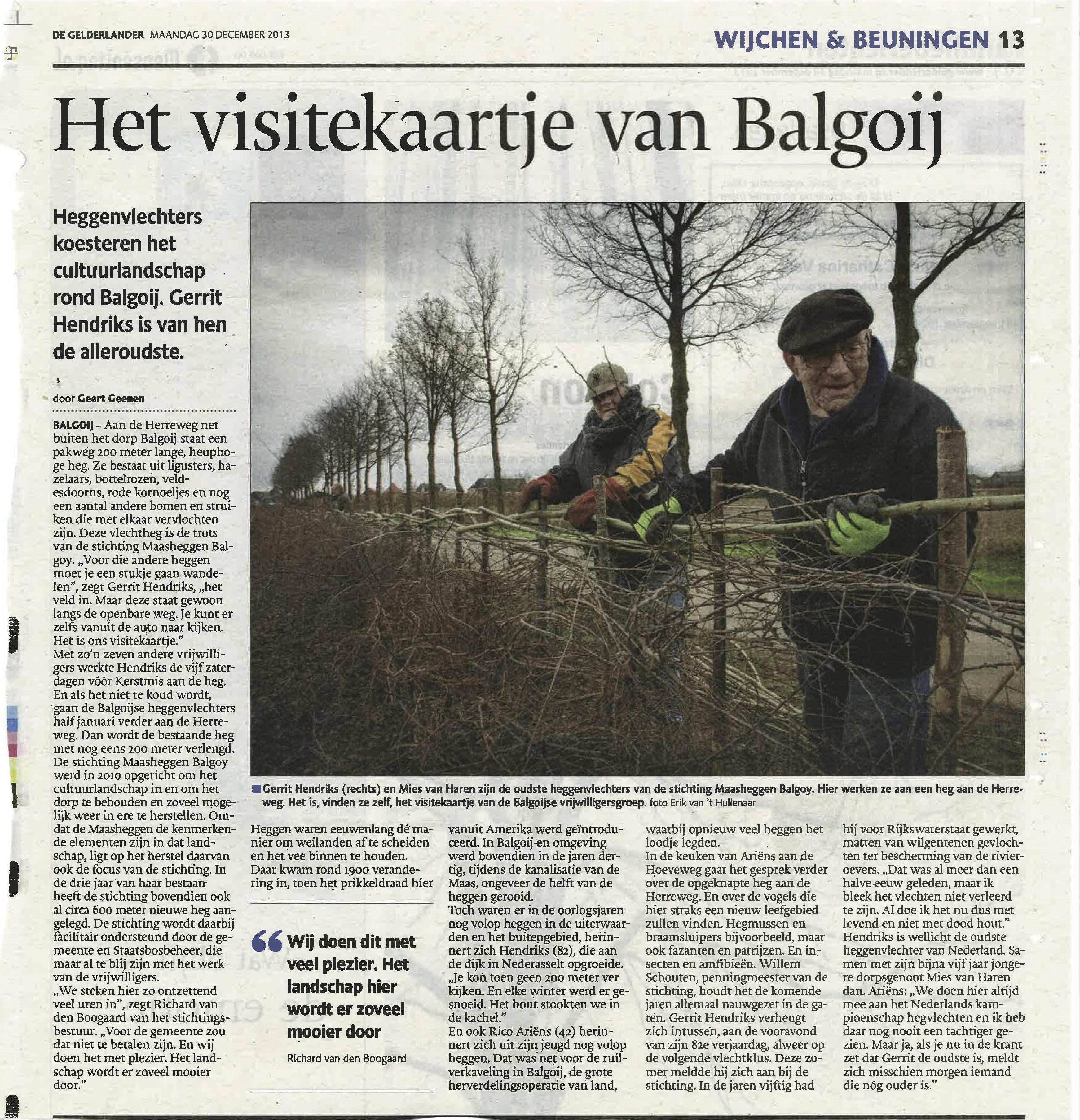 De Gelderlander, 30 dec 2013